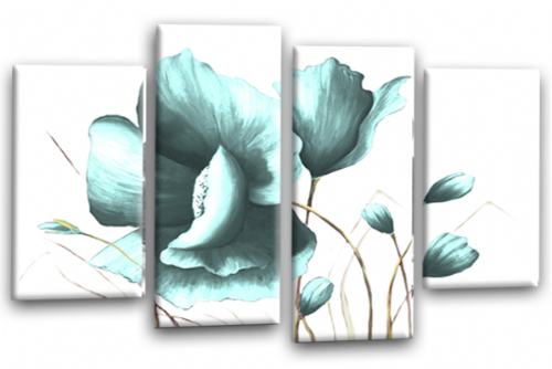 Duck Egg Flower Canvas Wall Art Floral Painting Picture Print Split Panel